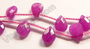 Purple Fuchsia Jade  -  7x10mm Faceted Flat Briolette 16""