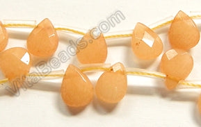Yellow Peach Jade  -  7x10mm Faceted Flat Briolette 16""