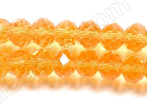 Orange Yellow Crystal  -  Faceted Rondel  12""