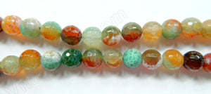 Fire Agate Red Green Mix  -  Faceted Round 16""