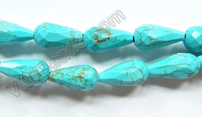 Blue Crack Turquoise  -  8x14mm Faceted Drop 16""