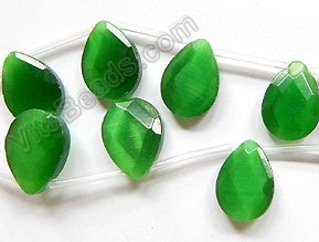 Green Cat's Eye  -  Faceted Flat Briolette  16""