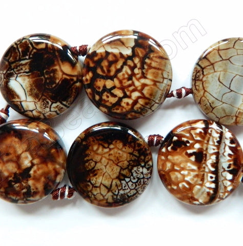 Coffee Fire Agate  -  Big Puff Coins  16""