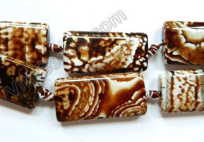 Coffee Fire Agate  -  Big Puff Rectangles  16""