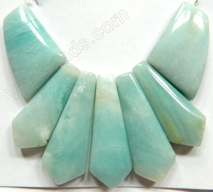 Pendant Set - Amazonite w/ Brown -  7-Piece Slab  70x76mm
