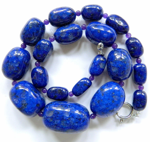 Lapis Kiwi Stone - Graduated Tumble Necklace 16""