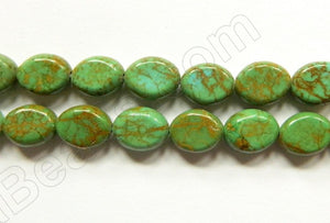 Olive Green Turquoise  -  Puff Ovals 16""
