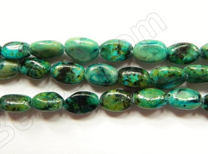 Dyed Blue Green Turquoise  -  Small Puff Ovals 16""