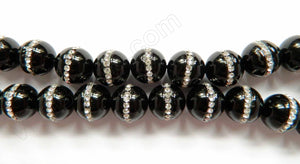 "Black Onyx  -  Marcasite Lined Smooth Round Beads 16""     14 x 15 mm"