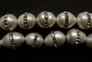 Fresh Water Pearl  -  White Rice w/ White Marcasite 16""