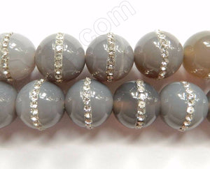 Grey Onyx  -  Marcasite Lined Smooth Round Beads 16""