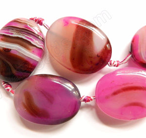 Light Fuchsia Sardonix Agate  -  Thick Puff Ovals  16""