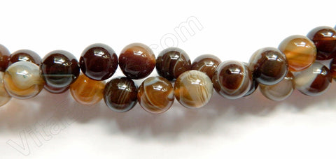 Brown Sardonix Agate  -  Smooth Round Beads  16""
