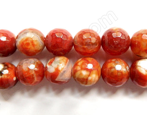 Fire Agate Red Orange -  Faceted Round Beads  16""