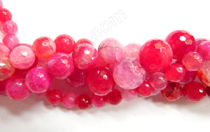Fuchsia Fire Agate  -  Faceted Round 14""