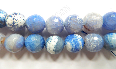 Sky Blue Fire Agate  -  Faceted Round  16""