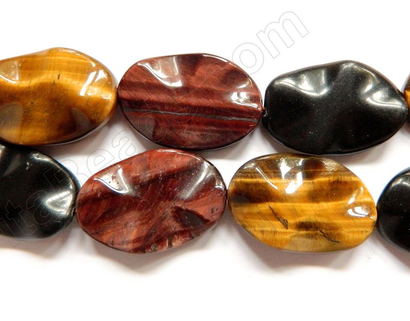 Mixed Tiger Eye Black Onyx  -  Wave Flat oval 16""