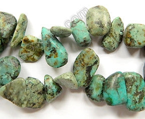 Africa Turquoise  -  10-14mm Smooth Drop Nuggets 16""