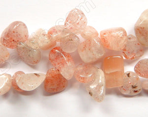 Light Pink Sunstone  -  Smooth Drop Nuggets 16""