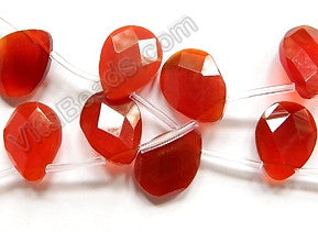 Carnelian  -  15x20mm Faceted Flat Briolettes  16""