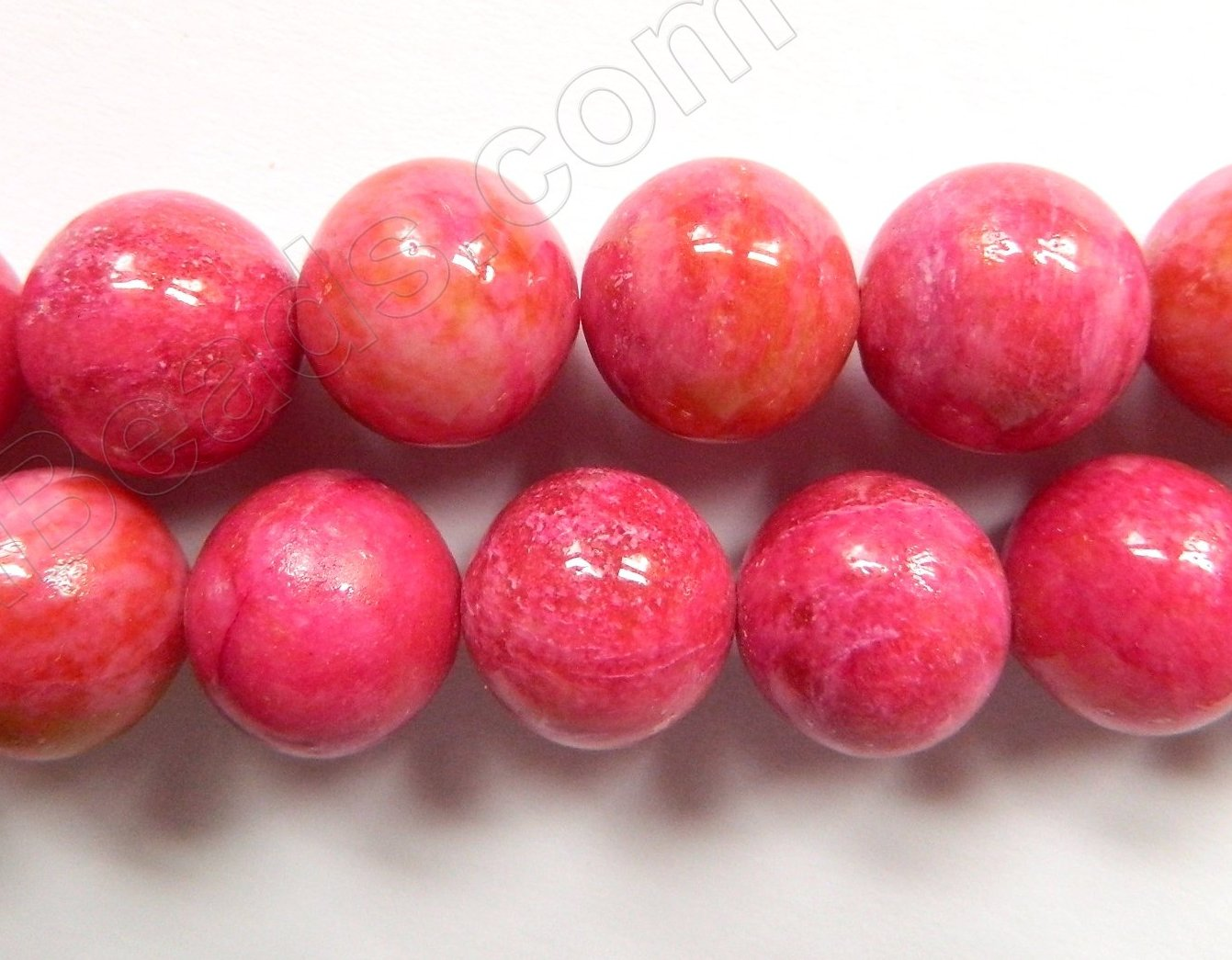 Ruby Turquoise  -  Big Smooth Round Beads  16""