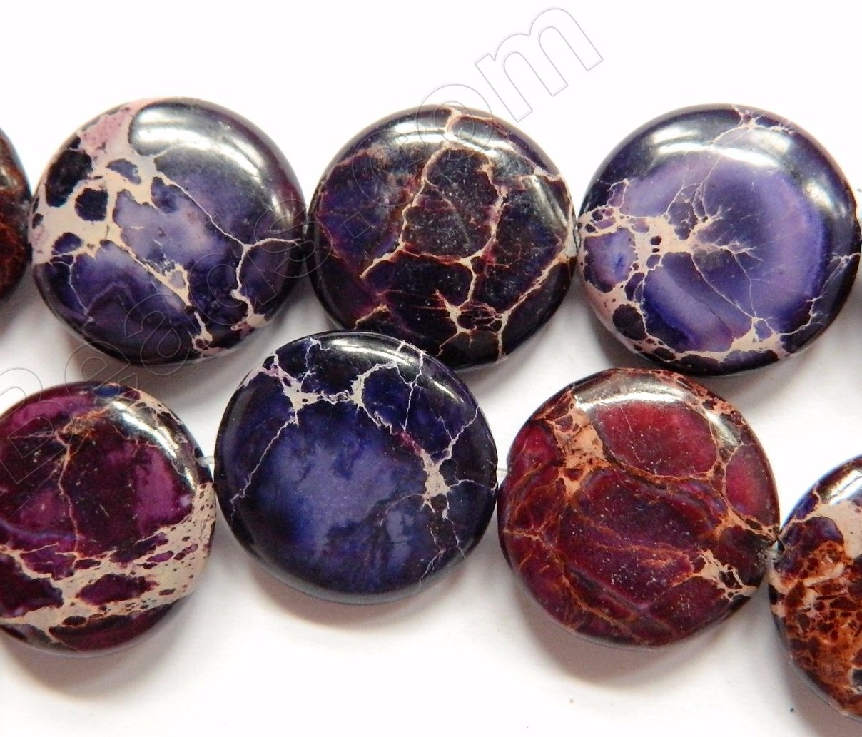 Purple Impression Jasper AA  -  Puff Coins  16""