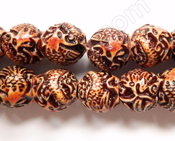 Synthetic Bone, Resin Beads - Carved Dragon - 17x20mm