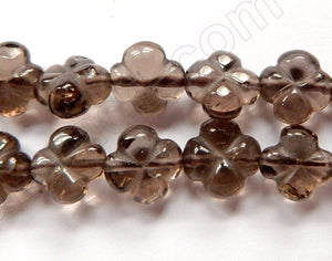 "Smoky Topaz AAA  -  Carved 4-Petal Flower Strand  16""    11 mm"