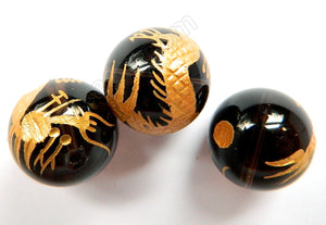 Black Onyx   Carved Gold Dragon Smooth Round Bead