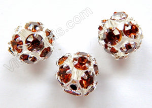 Rhinestones Spacer Ball - Amber Crystal