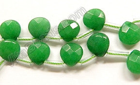 Bright Green Jade  -  10mm Faceted Flat Briolette  16""