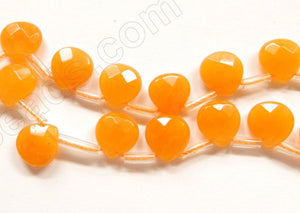 Orange Yellow Jade  -  10mm Faceted Flat Briolette  16""