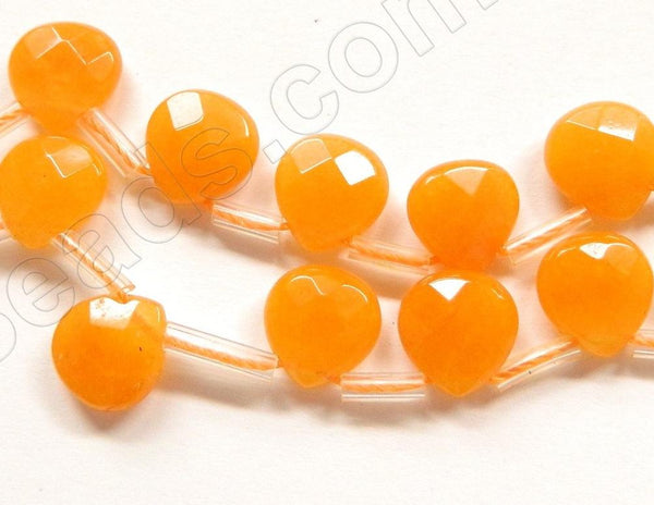 Orange Jade  -  13mm Flat Faceted Briolette 16""