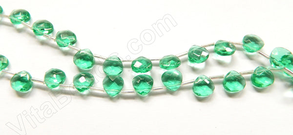 Light Emerlad Crystal  -  10mm Faceted Flat Briolette 16""