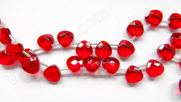 Dark Red Crystal Quartz  -  13mm Faceted Flat Briolette 16""