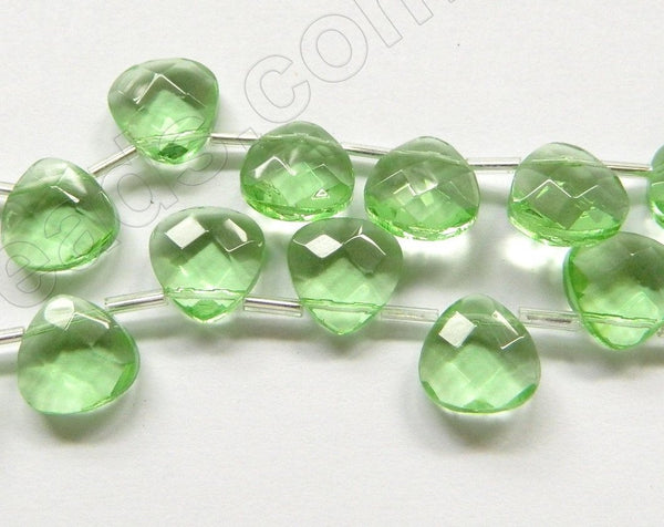 Light Apple Green Crystal Quartz  -  13mm Faceted Flat Briolette 16""
