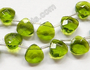 Peridot Crystal Quartz  -  13mm Faceted Flat Briolette 16""