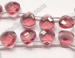 Light Red Fluroite Crystal Quartz  -  13mm Faceted Flat Briolette 16""