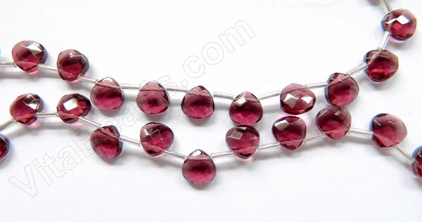 Dark Red Fluorite Crystal  -  10mm Faceted Flat Briolette 16""