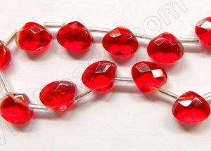 Red Crystal - 12x10mm Faceted Flat Briolette 6""