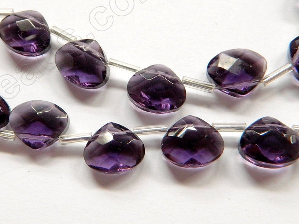 Dark Amethyst Crystal - 12x10mm Faceted Flat Briolette 6""