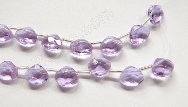 Light Amethyst Crystal - 12x10mm Faceted Flat Briolette 6""