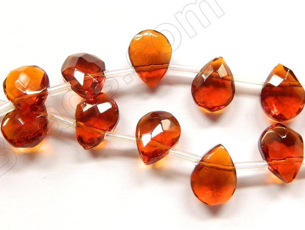 Dark Amber Crystal Quartz  -  9x12mm Faceted Flat Briolette  10""