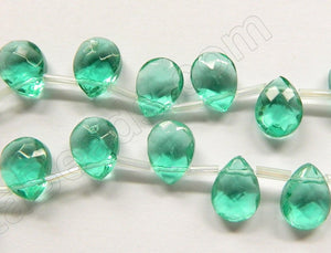 Light Emerald Crystal Quartz  -  9x12mm Faceted Flat Briolette  10""