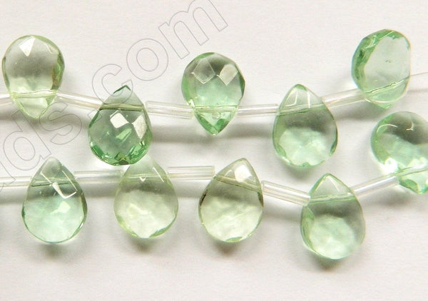 Light Apple Green Crystal Quartz  -  9x12mm Faceted Flat Briolette  10""
