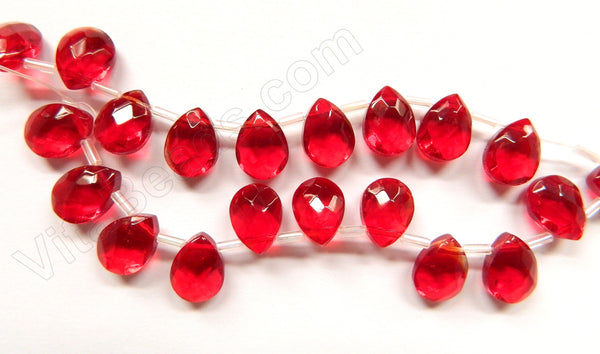 Big Red Crystal Quartz  -  9x12mm Faceted Flat Briolette  10""