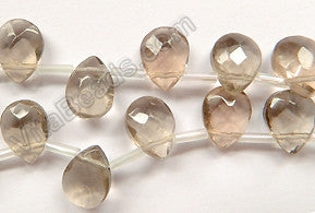 Light Smoky Crystal Quartz  -  9x12mm Faceted Flat Briolette  10""