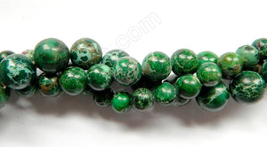 Forest Green Impression Jasper  -  Smooth Round Beads  16""