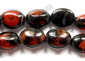 Black Red Sardonix Agate  -  Pebble Beads 14""