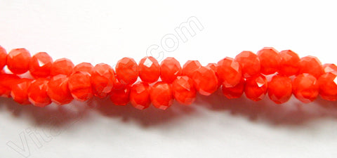 "Bright Orange Red Quartz  -  Faceted Rondel   16""    6 x 8 mm"